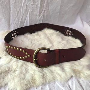 Linea Pelle Western Belt Gold Studded Leather Larg